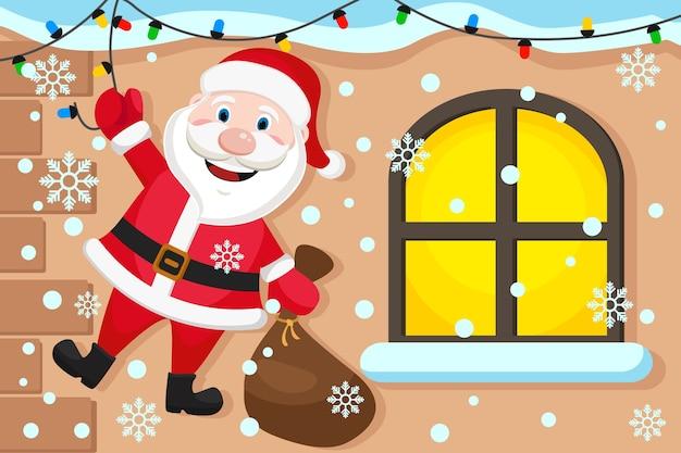 Le père noël est suspendu à la guirlande et tient un sac de cadeaux. carte de noël.