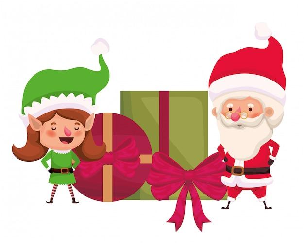 Père noël et femme elfe avec des coffrets cadeaux
