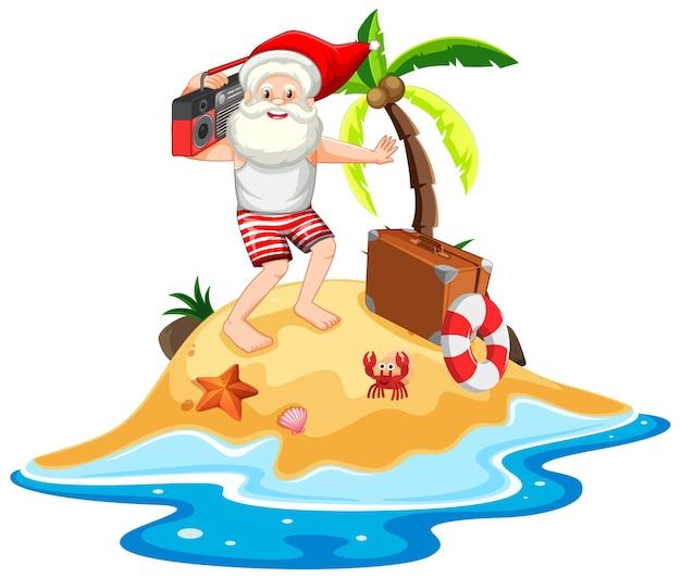 Père noël sur l'île de la plage pour noël d'été