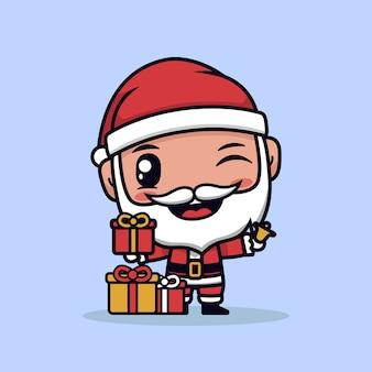 Père noël avec illustration de dessin animé de boîte cadeau