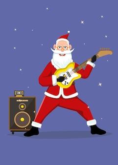 Le père noël joue d'une guitare électrique jaune pour fêter noël