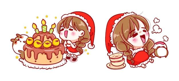 Père noël, manger un gâteau d'anniversaire