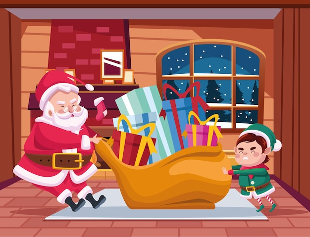 Père noël mignon et aide avec illustration de scène de personnages cadeaux sac