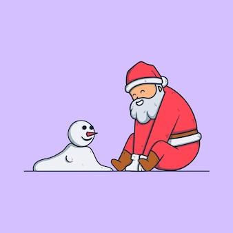 Père noël mignon avec un bonhomme de neige. personnage de dessin animé de noël