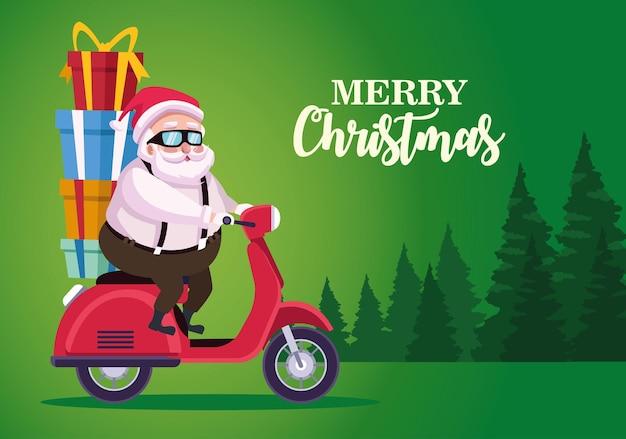 Père noël mignon avec des cadeaux en moto dans l'illustration de la scène de la forêt