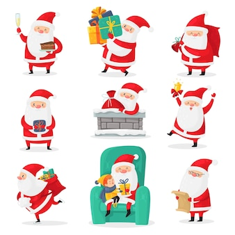 Père noël mignon. clauses du père noël de noël avec des émotions drôles et des cadeaux de nouvel an pour les enfants, personnages festifs de vacances de noël joyeux, ensemble isolé de dessin animé vectoriel plat