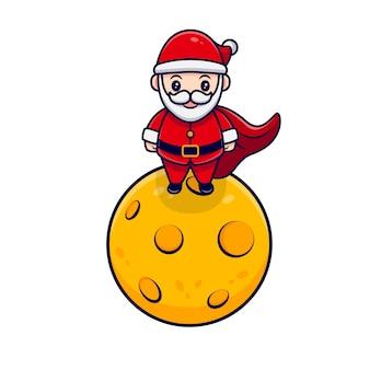 Père noël mignon debout sur l'illustration de l'icône de dessin animé de lune. style de bande dessinée plat