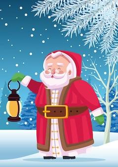 Père noël mignon avec lanterne dans l'illustration de scène de paysage de neige