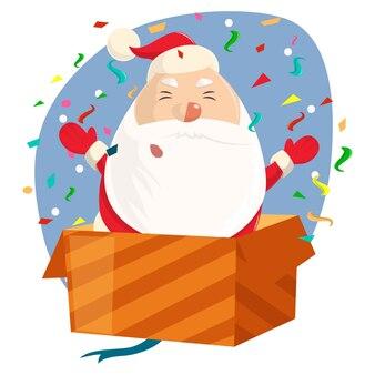 Père noël mignon avec les mains ouvertes debout dans une boîte cadeau.
