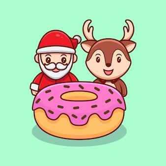 Père noël mignon et renne derrière l'illustration de dessin animé de mascotte de beignet.