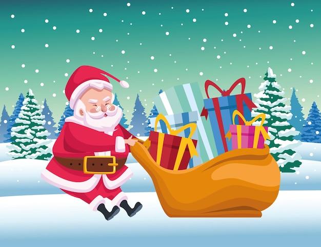 Père noël mignon avec sac de cadeaux en illustration de scène de paysage de neige