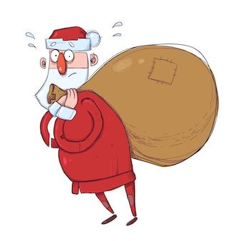 Père noël mignon avec un sac lourd de cadeaux. illustration, sur fond blanc.