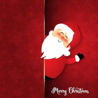 Père Noël mignon sur fond de flocon de neige