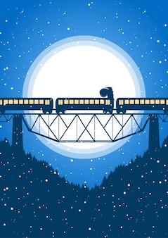Le père noël monte au sommet du train sur le fond de la lune.