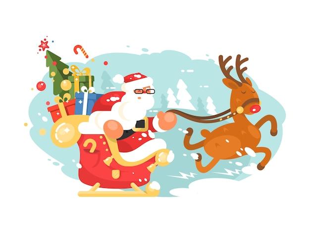 Le père noël monte en traîneau avec des coffrets cadeaux sur des cerfs. illustration