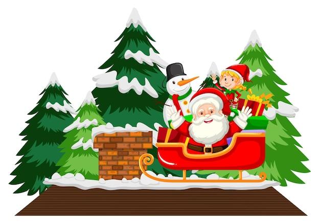 Père noël avec de nombreux cadeaux sur un traîneau sur blanc