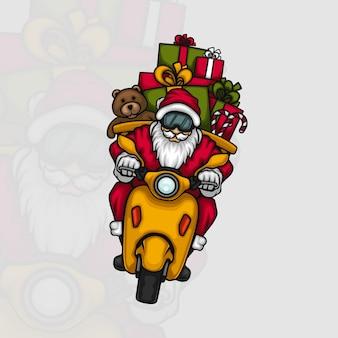 Père noël offrant des cadeaux sur un scooter