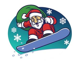 Père Noël offrant le cadeau de Noël en surfant sur une planche à neige