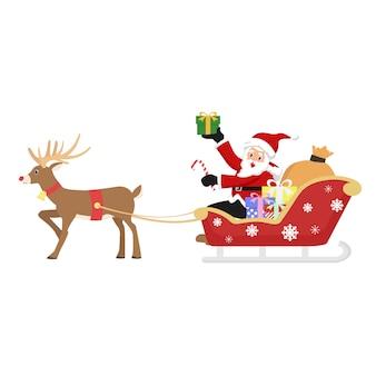 Le père noël offre des cadeaux aux enfants au moment de noël.