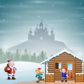 Le père noël offre des cadeaux aux enfants dans le paysage du village