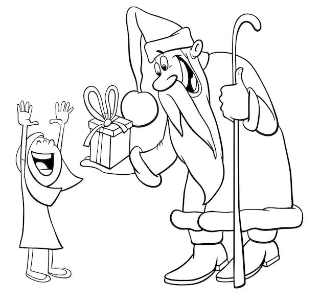 Père noël avec la petite fille à colorier