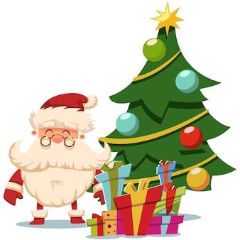 Père noël près de l'arbre de noël et tas de coffrets cadeaux. illustration sur fond blanc.