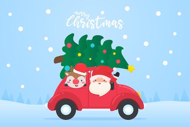 Père noël et renne conduisent une vieille voiture rouge et un arbre de noël