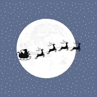 Père noël avec des rennes volant dans le ciel, avec la lune et la neige