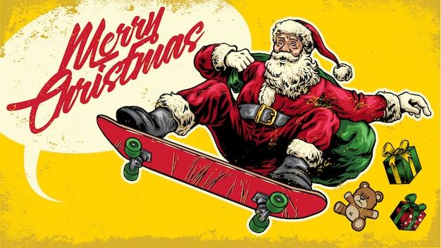 Père noël ride skateboard dans le style de dessin à la main