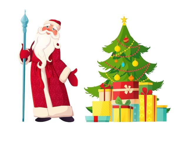 Père noël russe en vêtements rouges avec bâton et arbre décoré, cadeaux. personnage de noël santa claus ou ded moroz.