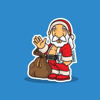 Père noël avec sac d'illustration cadeau