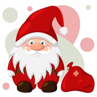 Père noël avec un sac rouge de cadeaux. illustration de dessin animé de nouvel an. design plat.