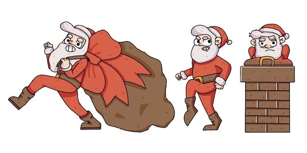 Père noël se faufiler avec des cadeaux coincés dans la cheminée