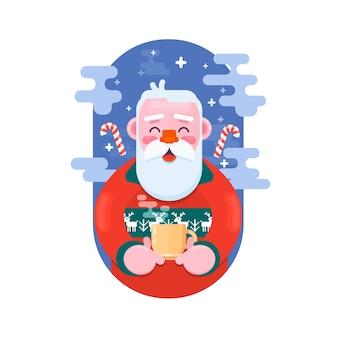 Père noël avec une tasse de café. illustration vectorielle plane
