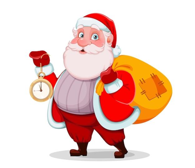 Père noël tenant une horloge et un sac avec des cadeaux