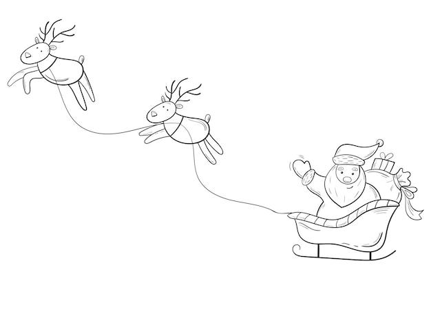 Père noël en traîneau avec des cerfs illustration dessinée à la main