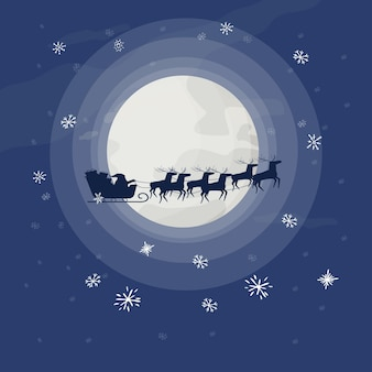Père noël en traîneau avec renne sur fond de décoration de noël de pleine lune