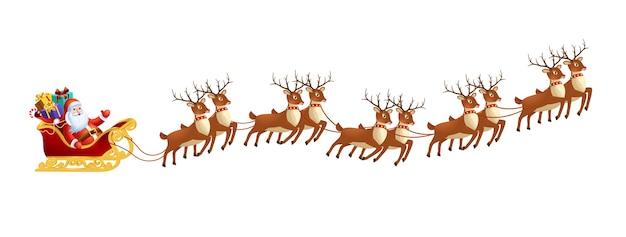 Père noël en traîneau avec des rennes sur fond blanc joyeux noël et bonne année décoration