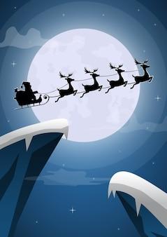 Père noël et traîneau de rennes volant avec la pleine lune la veille de noël