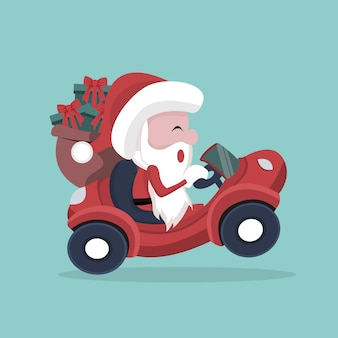 Père noël transportant des cadeaux dans sa voiture