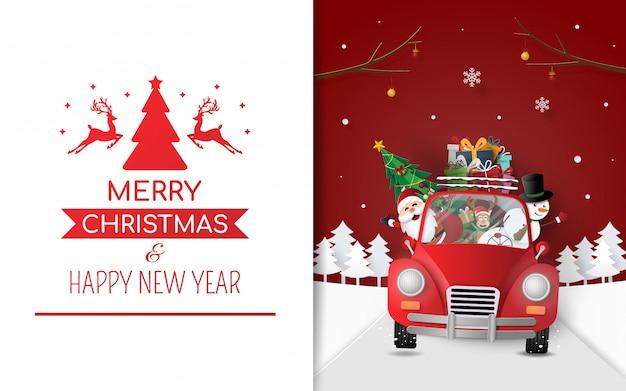 Père noël en voiture rouge transportant des cadeaux et un arbre de noël