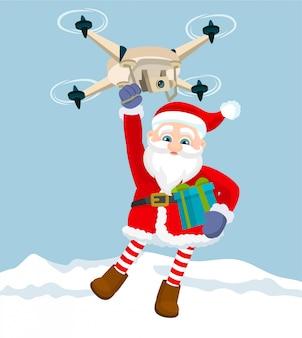 Le père noël vole sur un drone