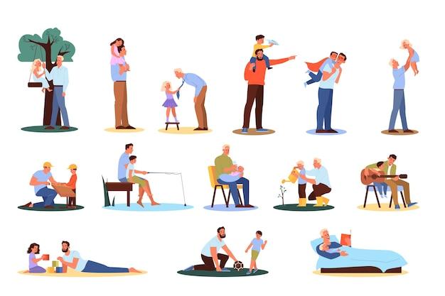 Père passe du temps avec les enfants fixés. l'homme joue avec son fils et sa fille. parent et enfant heureux ensemble. activité de plein air avec les enfants. illustration