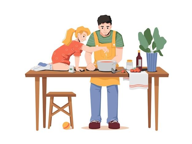 Père et petite fille préparant le dîner ensemble
