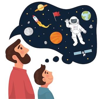 Père raconte à son fils un rêve d'avenir