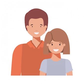 Père avec sa fille souriant personnage avatar