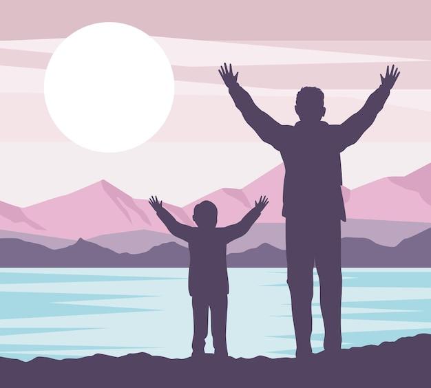 Père avec scène de fils