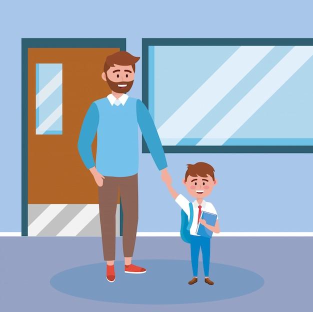 Père avec son élève garçon avec livre et sac à dos