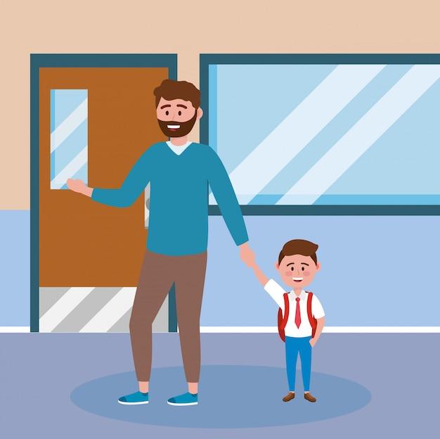 Père avec son élève garçon avec uniforme et sac à dos