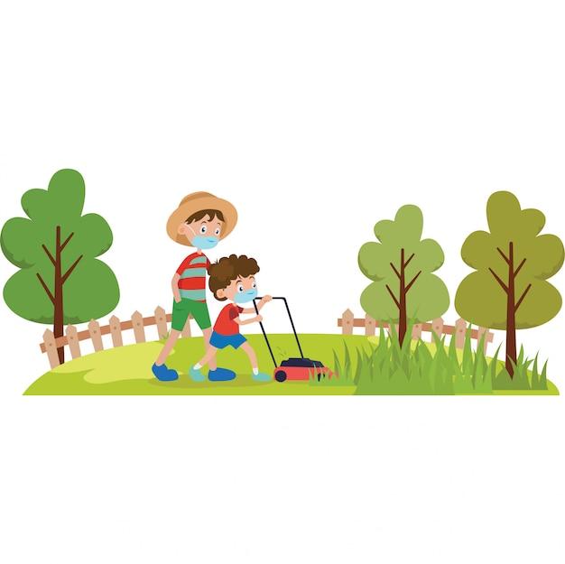 Père et son fils tondent le jardin ensemble illustration